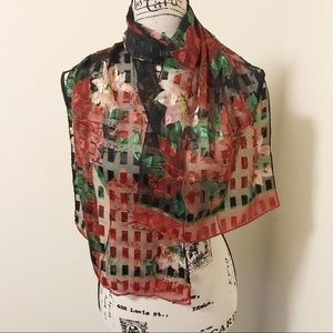 Vintage Holiday Christmas Poinsettia Sheer Scarf